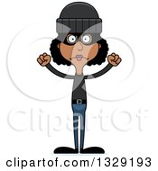Clipart Of A Cartoon Angry Tall Skinny Black Woman Robber Royalty Free Vector Illustration by Cory Thoman