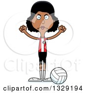 Cartoon Angry Tall Skinny Black Woman Volleyball Player