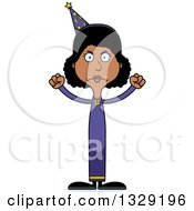 Clipart Of A Cartoon Angry Tall Skinny Black Wizard Woman Royalty Free Vector Illustration by Cory Thoman