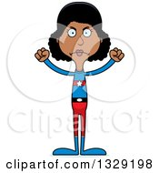 Clipart Of A Cartoon Angry Tall Skinny Black Super Hero Woman Royalty Free Vector Illustration