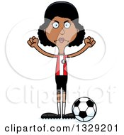 Clipart Of A Cartoon Angry Tall Skinny Black Woman Soccer Player Royalty Free Vector Illustration