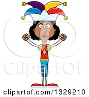 Clipart Of A Cartoon Angry Tall Skinny Black Woman Jester Royalty Free Vector Illustration by Cory Thoman