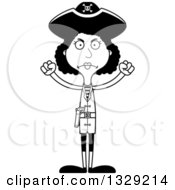 Lineart Clipart Of A Cartoon Black And White Angry Tall Skinny Black Woman Pirate Royalty Free Outline Vector Illustration
