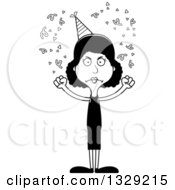 Lineart Clipart Of A Cartoon Black And White Angry Tall Skinny Black Party Woman Royalty Free Outline Vector Illustration
