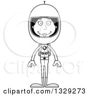 Lineart Clipart Of A Cartoon Black And White Happy Tall Skinny Black Woman Astronaut Royalty Free Outline Vector Illustration