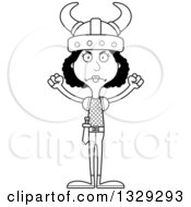 Lineart Clipart Of A Cartoon Black And White Angry Tall Skinny Black Viking Woman Royalty Free Outline Vector Illustration
