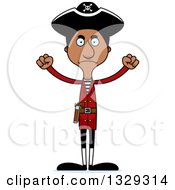 Clipart Of A Cartoon Angry Tall Skinny Black Pirate Man Royalty Free Vector Illustration