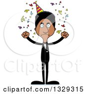 Clipart Of A Cartoon Angry Tall Skinny Black Party Man Royalty Free Vector Illustration