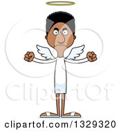 Clipart Of A Cartoon Angry Tall Skinny Black Man Angel Royalty Free Vector Illustration