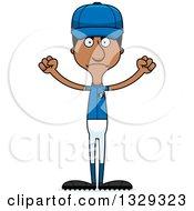 Poster, Art Print Of Cartoon Angry Tall Skinny Black Man Baseball Player