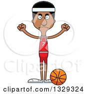 Clipart Of A Cartoon Angry Tall Skinny Black Man Basketball Player Royalty Free Vector Illustration
