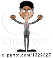 Clipart Of A Cartoon Angry Tall Skinny Black Business Man Royalty Free Vector Illustration
