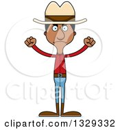 Clipart Of A Cartoon Angry Tall Skinny Black Man Cowboy Royalty Free Vector Illustration