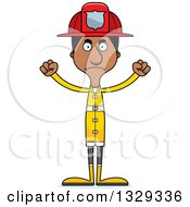 Clipart Of A Cartoon Angry Tall Skinny Black Man Firefighter Royalty Free Vector Illustration