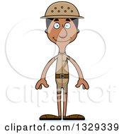 Clipart Of A Cartoon Happy Tall Skinny Black Man Zookeeper Royalty Free Vector Illustration