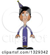 Clipart Of A Cartoon Happy Tall Skinny Black Wizard Man Royalty Free Vector Illustration