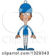 Clipart Of A Cartoon Happy Tall Skinny Black Man In Winter Clothes Royalty Free Vector Illustration