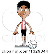 Clipart Of A Cartoon Happy Tall Skinny Black Man Volleyball Player Royalty Free Vector Illustration