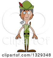 Clipart Of A Cartoon Happy Tall Skinny Black Robin Hood Man Royalty Free Vector Illustration