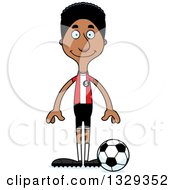 Clipart Of A Cartoon Happy Tall Skinny Black Man Soccer Player Royalty Free Vector Illustration