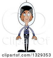 Clipart Of A Cartoon Happy Tall Skinny Black Futuristic Space Man Royalty Free Vector Illustration