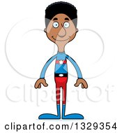Clipart Of A Cartoon Happy Tall Skinny Black Super Hero Man Royalty Free Vector Illustration