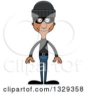 Clipart Of A Cartoon Happy Tall Skinny Black Man Robber Royalty Free Vector Illustration