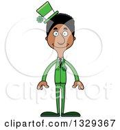 Clipart Of A Cartoon Happy Tall Skinny Black Irish St Patricks Day Man Royalty Free Vector Illustration