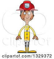 Clipart Of A Cartoon Happy Tall Skinny Black Man Firefighter Royalty Free Vector Illustration by Cory Thoman