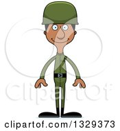 Clipart Of A Cartoon Happy Tall Skinny Black Man Soldier Royalty Free Vector Illustration