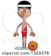 Clipart Of A Cartoon Happy Tall Skinny Black Man Basketball Player Royalty Free Vector Illustration