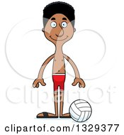Clipart Of A Cartoon Happy Tall Skinny Black Man Beach Volleyball Player Royalty Free Vector Illustration