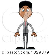 Clipart Of A Cartoon Happy Tall Skinny Black Business Man Royalty Free Vector Illustration by Cory Thoman