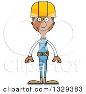 Clipart Of A Cartoon Happy Tall Skinny Black Man Construction Worker Royalty Free Vector Illustration by Cory Thoman