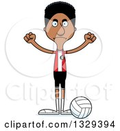 Clipart Of A Cartoon Angry Tall Skinny Black Man Volleyball Player Royalty Free Vector Illustration by Cory Thoman