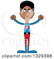 Clipart Of A Cartoon Angry Tall Skinny Black Super Hero Man Royalty Free Vector Illustration
