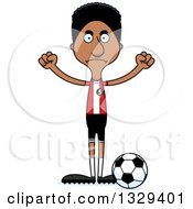 Clipart Of A Cartoon Angry Tall Skinny Black Man Soccer Player Royalty Free Vector Illustration by Cory Thoman