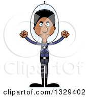 Clipart Of A Cartoon Angry Tall Skinny Black Futuristic Space Man Royalty Free Vector Illustration by Cory Thoman