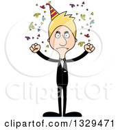 Clipart Of A Cartoon Angry Tall Skinny White Party Man Royalty Free Vector Illustration