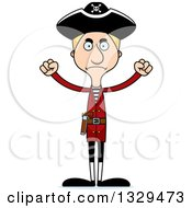 Clipart Of A Cartoon Angry Tall Skinny White Pirate Man Royalty Free Vector Illustration