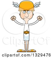 Clipart Of A Cartoon Angry Tall Skinny White Hermes Man Royalty Free Vector Illustration
