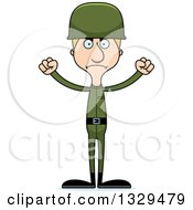 Clipart Of A Cartoon Angry Tall Skinny White Man Army Soldier Royalty Free Vector Illustration