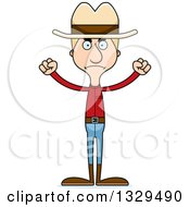 Clipart Of A Cartoon Angry Tall Skinny White Man Cowoby Royalty Free Vector Illustration