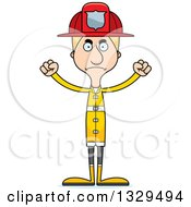 Clipart Of A Cartoon Angry Tall Skinny White Man Firefighter Royalty Free Vector Illustration by Cory Thoman