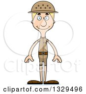 Clipart Of A Cartoon Happy Tall Skinny White Zookeeper Man Royalty Free Vector Illustration