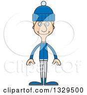 Clipart Of A Cartoon Happy Tall Skinny White Man In Winter Clothes Royalty Free Vector Illustration