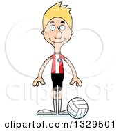 Clipart Of A Cartoon Happy Tall Skinny White Man Volleyball Player Royalty Free Vector Illustration