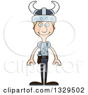 Clipart Of A Cartoon Happy Tall Skinny White Viking Man Royalty Free Vector Illustration