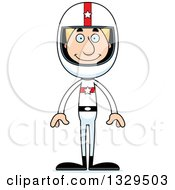 Clipart Of A Cartoon Happy Tall Skinny White Man Race Car Driver Royalty Free Vector Illustration