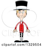 Clipart Of A Cartoon Happy Tall Skinny White Man Circus Ringmaster Royalty Free Vector Illustration